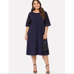 NWOT Navy Dress w Mesh Floral Sleeves 3x